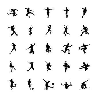 Olympische spiele silhouetten vektoren set