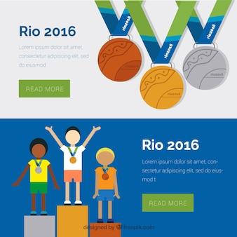 Olympischen spiele banner mit den gewinnern
