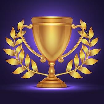 Olympischer goldtrophäenschalenpreis für sportgewinner mit lorbeerkranz. goldener pokalpreis, triumph und