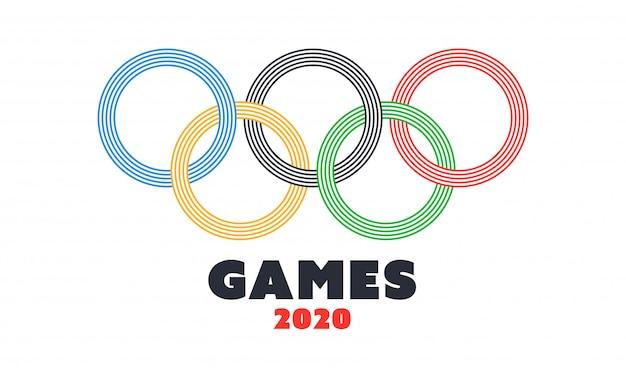 Olympisches symbol auf weißem hintergrund für spiele 2020.