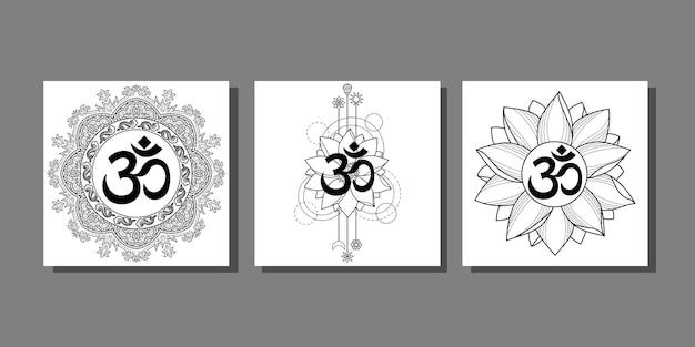 Om-drucke mit lotus und mandala