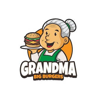 Oma burger maskottchen logo design