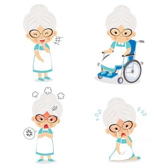 Oma in verschiedenen haltungen und zum ausdruck bringen von emotionen.