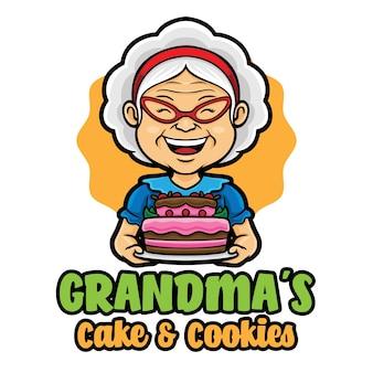 Oma kuchen logo maskottchen vorlage