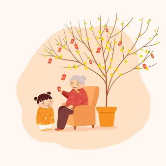 Oma und enkelin im wohnzimmer