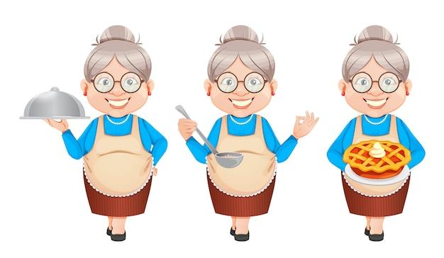 Oma-zeichentrickfigur, die essen zubereitet