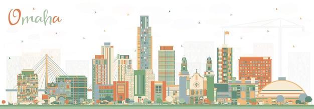 Omaha nebraska city skyline mit farbgebäuden. vektor-illustration. geschäftsreise- und tourismuskonzept mit historischer architektur. omaha usa stadtbild mit sehenswürdigkeiten.