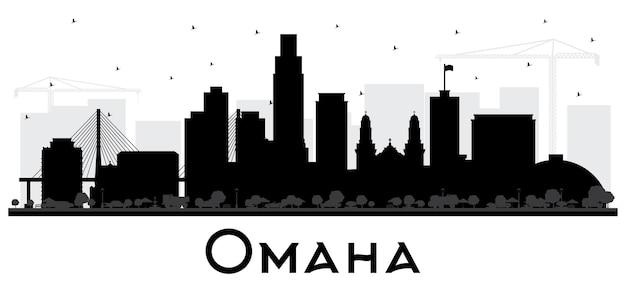 Omaha nebraska city skyline silhouette mit schwarzen gebäuden, isoliert auf weiss. vektor-illustration. geschäftsreise- und tourismuskonzept mit historischer architektur. omaha usa stadtbild mit sehenswürdigkeiten.