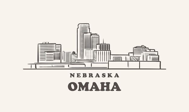 Omaha skyline nebraska gezeichnete skizze