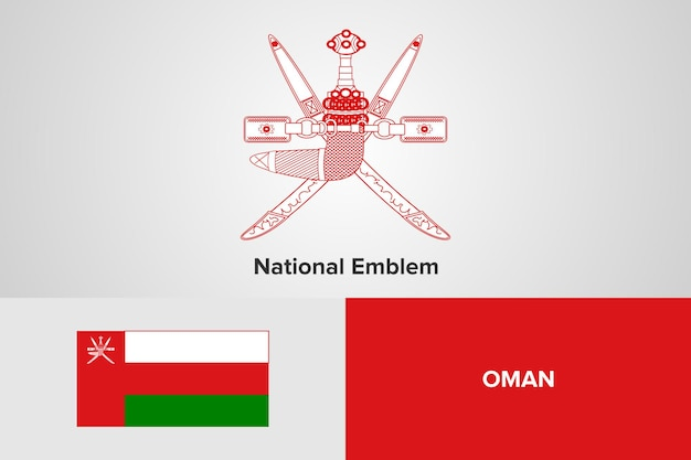 Oman national emblem flag vorlage