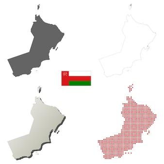 Oman-vektor umrißlandkartensatz