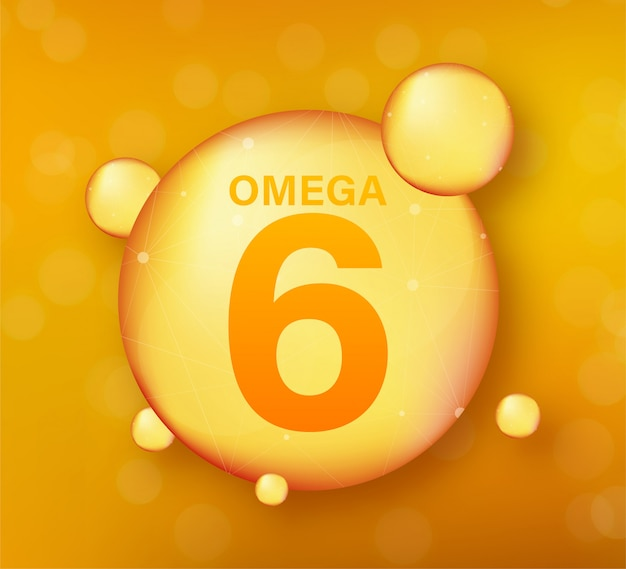 Omega 6 gold symbol. vitamin drop pille kapsel. glänzendes goldenes essenztröpfchen. illustration.