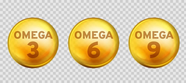 Omega-säuren. gesunde nahrungsergänzungsmittel fettsäure epa dha 3, 6 und 9 bio-vitamin nährstoff Premium Vektoren