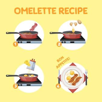 Omelett-kochrezept. schnelles und einfaches frühstück mit ei und speck. gesundes essen. isolierte flache vektorillustration
