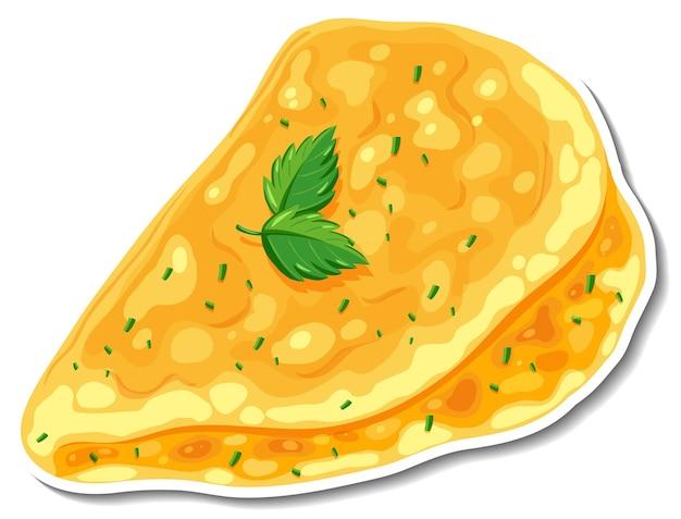 Omelettaufkleber auf weißem hintergrund