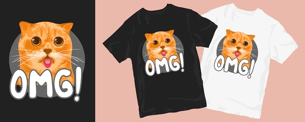 Omg niedliche katze illustration t-shirt design