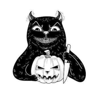 Ominöse schwarze katze des teufels mit halloween-kürbis und messer flache zeichentrickfigur