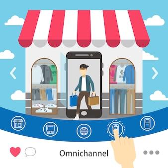 Omni-channel-einkaufserlebnis im flachen stil