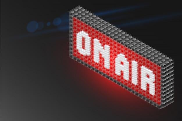 On air-alphabetwürfel isometrisch auf dem schild, realistisches signal des designs 3d zeigend.