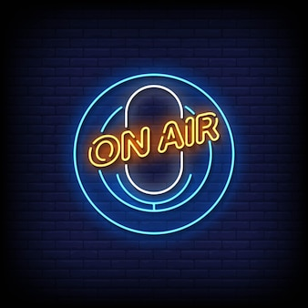 On air neon signs style text vektor