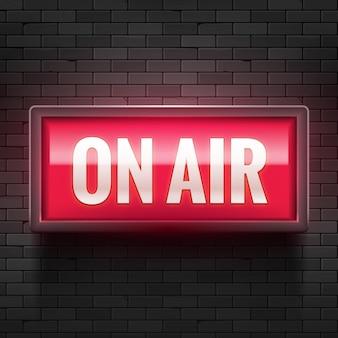 On air studio lichtzeichen. warnzeichen für mediensendungen. live-plattenproduktionsrekord aufmerksamkeit.