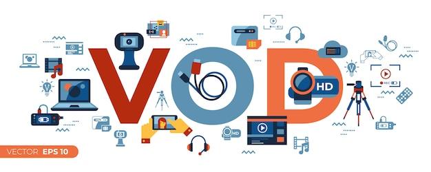 On-demand-online-streaming-technologie-ikonen-sammlung
