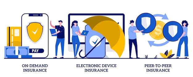 On-demand-versicherung, versicherung für elektronische geräte, peer-to-peer-versicherungskonzept