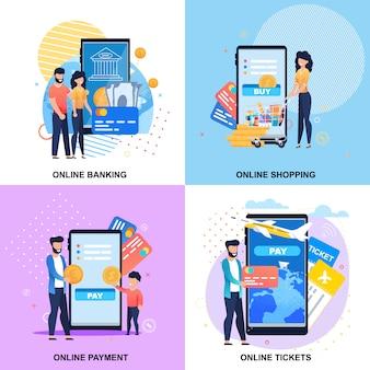 On-line-bewegliche instandhaltungs-fahnen eingestellt für bankverkehr, zahlung, anmeldung, einkaufen