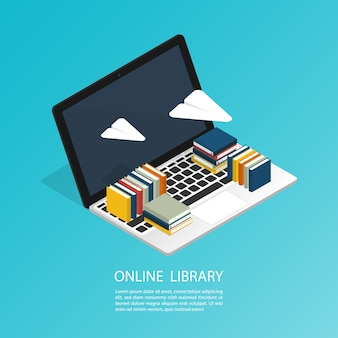 On-line-bibliotheksdatei isometrische wolke ebook-computerbüroarbeit, bildungsforschungsvektor