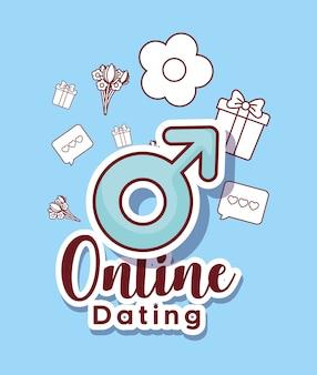On-line-datierungsdesign mit männlichem symbol und in verbindung stehenden ikonen