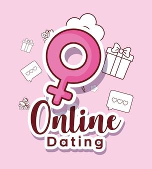 On-line-datierungsdesign mit weiblichem symbol und in verbindung stehenden ikonen