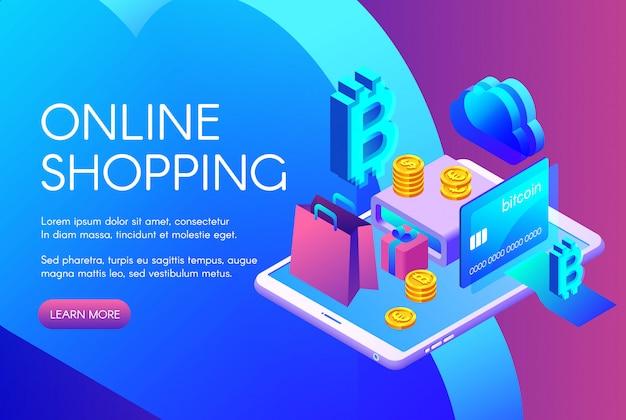 On-line-einkaufsillustration von bitcoin-zahlung oder cryptocurrency karte
