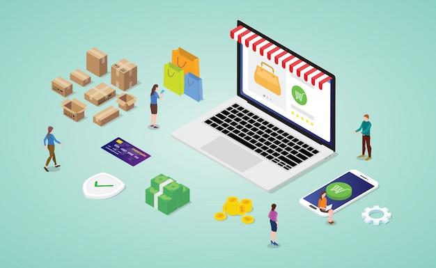 On-line-einkaufskonzept mit laptopwebsitespeicher mit moderner isometrischer art