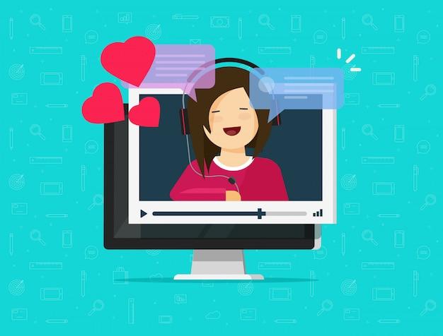 On-line-ferndatierung auf computervideokommunikations-app-illustration