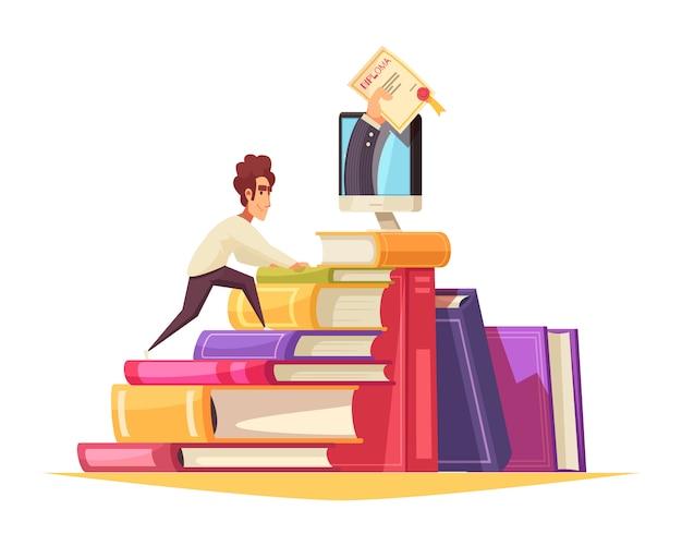 On-line-kurskarikaturzusammensetzung mit kletterndem lehrbuchstapel des studenten im aufbaustudium, zum des diploms vom monitor zu erhalten
