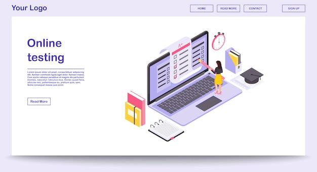 On-line-prüfungswebseitenschablone mit isometrischer illustration