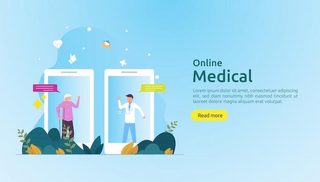 On-line-rat der medizinischen unterstützung oder doktorgesundheitswesenkonzept mit leutecharakter