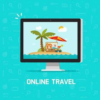 On-line-reise über flaches karikaturdesign der computer- oder reiseerholungsortbuchungsvektorillustration