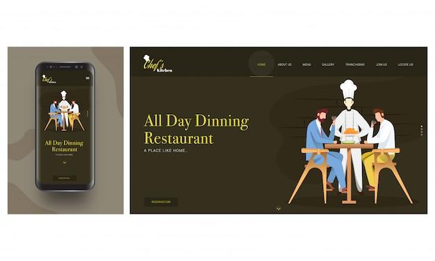 On-line-restaurant-app im intelligenten telefon mit chefumhüllungshuhn zum kunden bemannen das sitzen auf speisetische.
