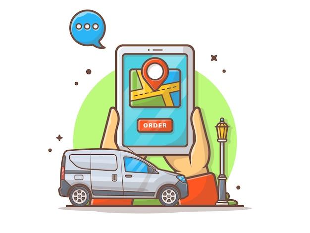 On-line-transport-auftrag mit navigations-vektor-ikonen-illustration