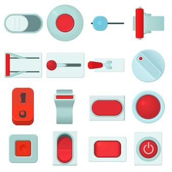 On-switch-schaltflächen-icons gesetzt