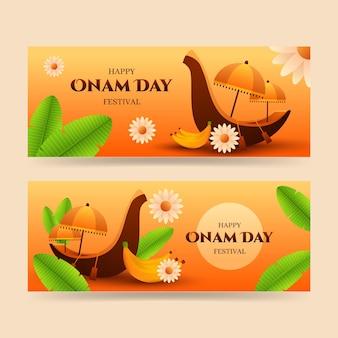 Onam-banner mit farbverlauf eingestellt