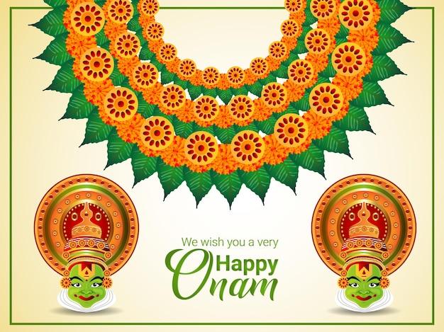 Onam-feier-grußkarte mit illustration