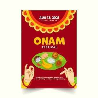Onam festival einladung oder flyer design mit sadhya essen und kathakali handgesten in roter farbe.