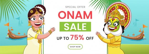 Onam sale header oder banner, fröhliche kathakali-tänzerin, frauenfigur und aranmula-bootsrennen auf hellem türkis und grünem hintergrund.