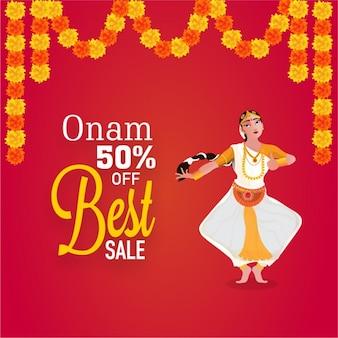 Onam verkauf hintergrund mit kathakali tänzerin