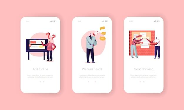 Onboard-bildschirmvorlage für die mobile app-seite der marketingagentur