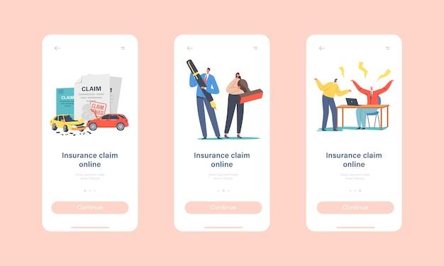 Onboard-bildschirmvorlage für die mobile app-seite für anspruchsversicherung. winzige charaktere mit riesigem stempel und stift, streit mit agenten für das verweigerte policy paper-konzept. cartoon-menschen-vektor-illustration
