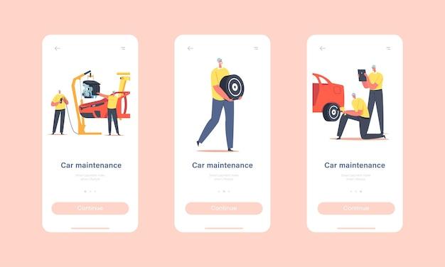 Onboard-bildschirmvorlage für die seite der mobilen app für die fahrzeugwartung. arbeiter-charaktere auf der werksproduktionslinie, fahrzeugherstellungsfabrik, transporttechnikkonzept. cartoon-menschen-vektor-illustration