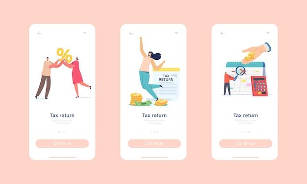 Onboard-bildschirmvorlage für die seite der steuererklärung für die mobile app